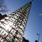 Christmas tree of 900 recycled plastic bottles by Ashley Phillips outside Ealing Town Hall.  Photo by Eugenie Absalom