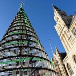 Christmas Tree of 900 recycled bottles in Uxbridge Road in London.  Photo by Eugenie Absalom