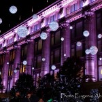 Selfridges and Christmas lights in Oxford street.  Photo by Eugenie Absalom